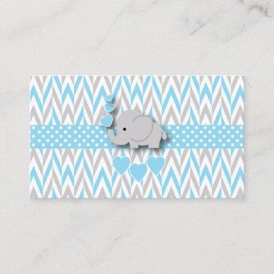 Blue White Gray Elephant Book Request Enclosure Card