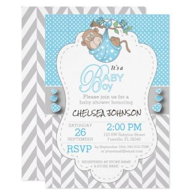Blue, White Gray Monkey Baby Shower Invitations