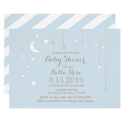 Blue White Moon Star Boy Baby Shower Invite