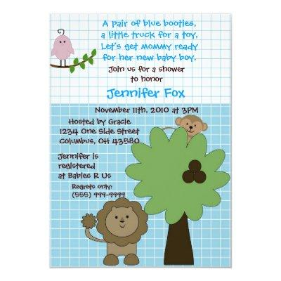 Blue & White Safari Baby Shower Invitations