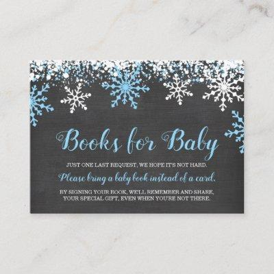Blue White Snowflakes Boy Baby Shower Book Request Enclosure Card