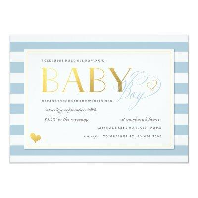 Blue & White Stripe Baby Boy Shower Gold Accents Invitations