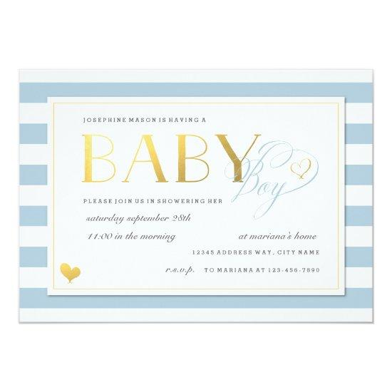 Blue & White Stripe Baby Boy Shower Gold Accents Card