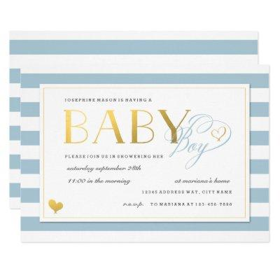Blue & White Stripe Faux Gold Baby Boy Shower Invitations