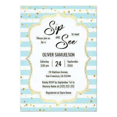 Blue White Stripes Gold Black BABY SIP and SEE Invitations