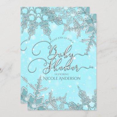 Blue Winter Wonderland Snowflakes Baby Shower Invitation