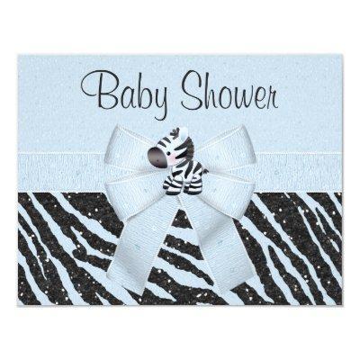 Blue Zebra, Printed Bow & Glitter Look