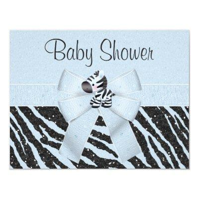 Blue Zebra, Printed Bow & Glitter Look Baby Shower Invitation