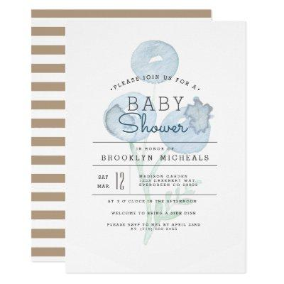 Blueberry Trio | Berry Watercolor Baby Shower Invitations