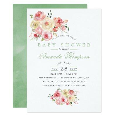 Blush and Sage Watercolor Floral
