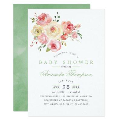 Blush and Sage Watercolor Floral Baby Shower Invitation