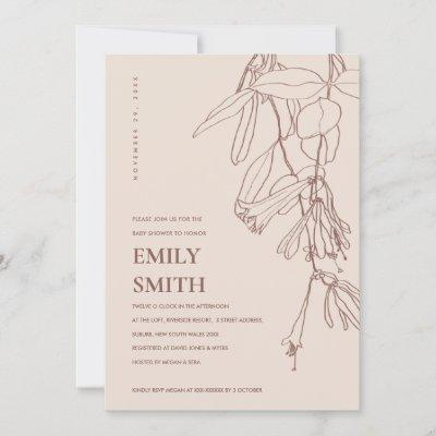 BLUSH BROWN LINE DRAWING FLORAL BABY SHOWER CARD