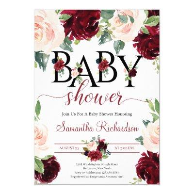 Blush Burgundy and Pink Floral Boho Baby Shower Invitation