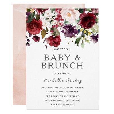 Blush Burgundy Watercolor Baby Shower & Brunch Invitation