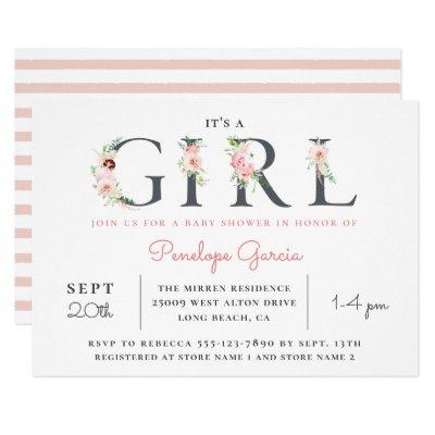 Blush Floral It's a GIRL Baby Shower Invitation