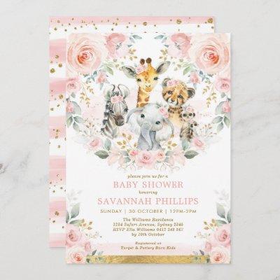 Blush Floral Jungle Safari Animals Baby Shower Invitation