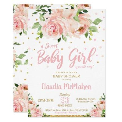 Blush Floral Sweet Baby Girl Shower Pink & Gold Invitation