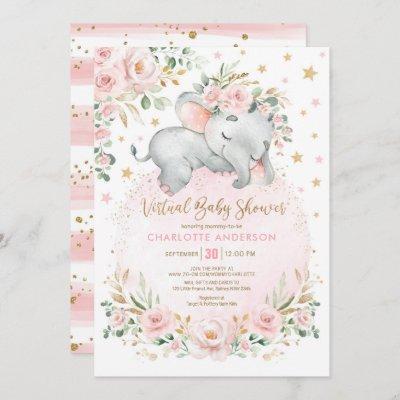 Blush Gold Floral Elephant Virtual Baby Shower Invitation