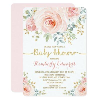 Blush Gold Floral Rose Girl Baby Shower Invitation