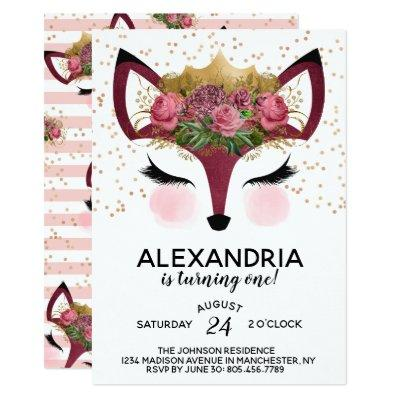 Blush & Gold Fox Princess Birthday Invitation