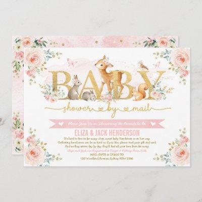 Blush Gold Roses Woodland Baby Shower By Mail Invitation