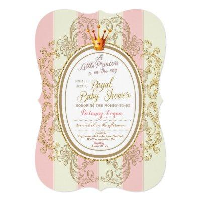 Blush Gold Royal Princess Baby Shower Invitations