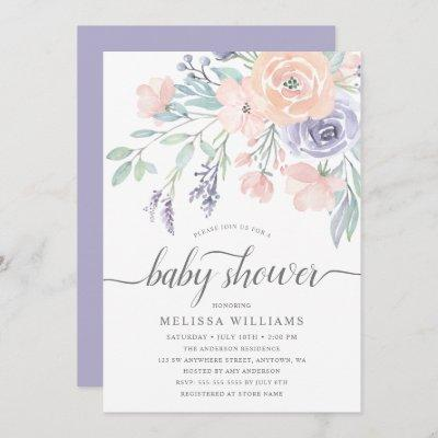 Blush Lavender Watercolor Floral Girl Baby Shower Invitation