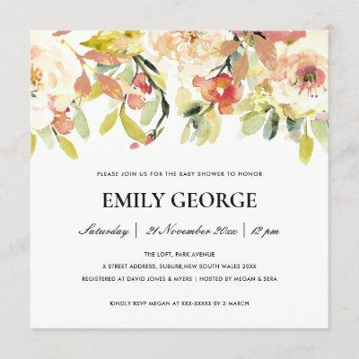 BLUSH PEACH PINK WATERCOLOR FLORAL BABY SHOWER INVITATION