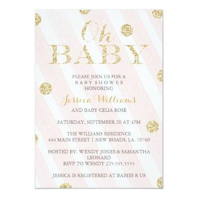 Blush Pink and Gold Invitations