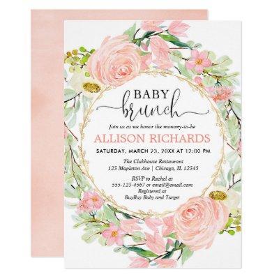 Blush pink and gold brunch girl baby shower floral invitation
