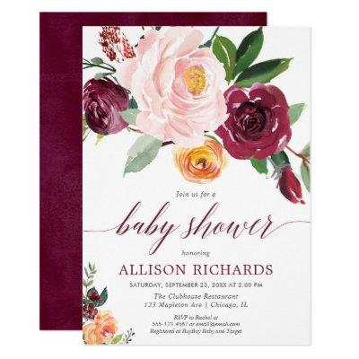 Blush pink burgundy fall floral girl baby shower invitation