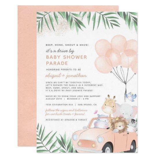 Blush Pink Car Safari Animals Drive By Baby Shower Invitation
