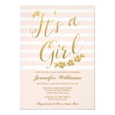 Blush Pink Faux Gold Flowers Girl Baby Shower Invitations