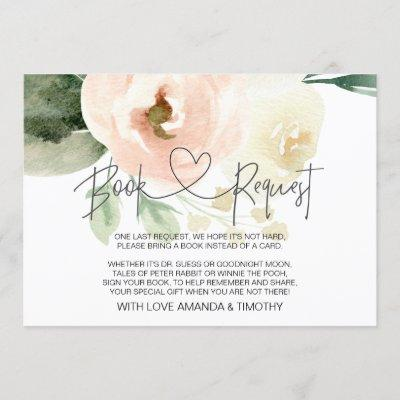 Blush Pink Floral Baby Shower Book Request Cards