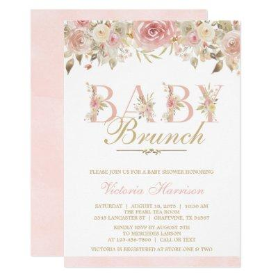 Blush Pink Floral Baby Shower Brunch Invitation