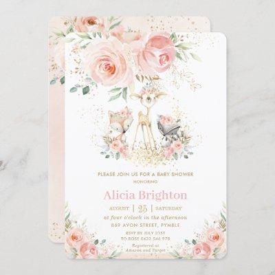 Blush Pink Floral Cute Woodland Girly Baby Shower Invitation