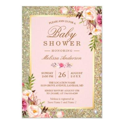 Blush Pink Floral Gold Sparkles Baby Shower Invitations