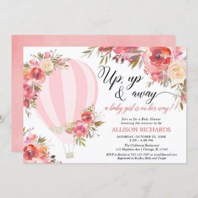 Blush pink floral hot air balloon girl baby shower invitation