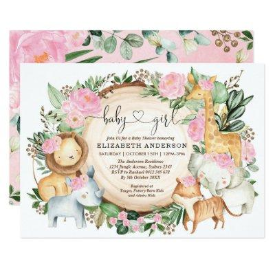 Blush Pink Floral Safari Jungle Wild Baby Shower Invitation