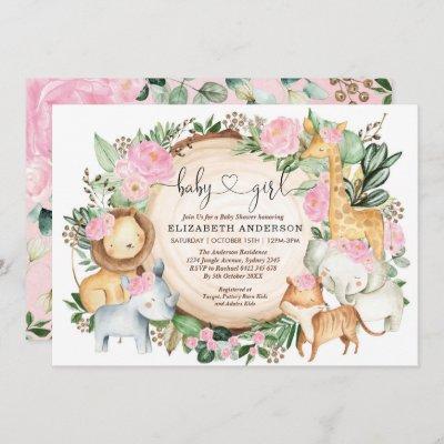 Blush Pink Floral Safari Jungle Wild Baby Shower Invitation