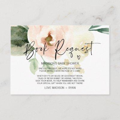 Blush Pink Girl Baby Shower Party Book Request Enclosure Card