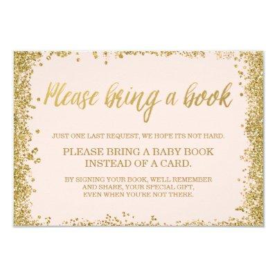 Blush Pink Gold Faux Glitter Baby Shower Book Invitations