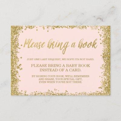 Blush Pink Gold Faux Glitter Baby Shower Book Enclosure Card