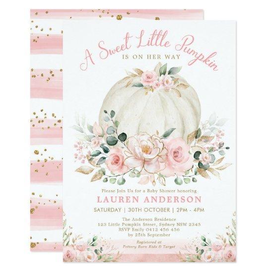 Blush Pink Gold Floral Pumpkin Girl Baby Shower Invitation