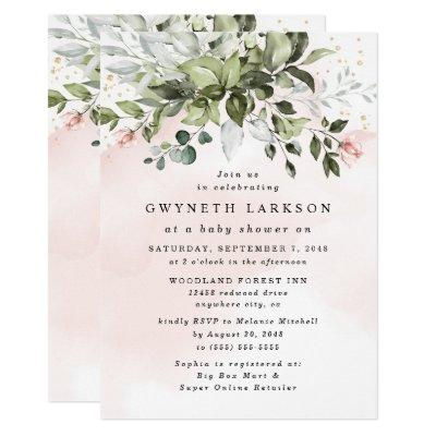 Blush Pink Gold Greenery Dusty Blue Baby Shower Invitation