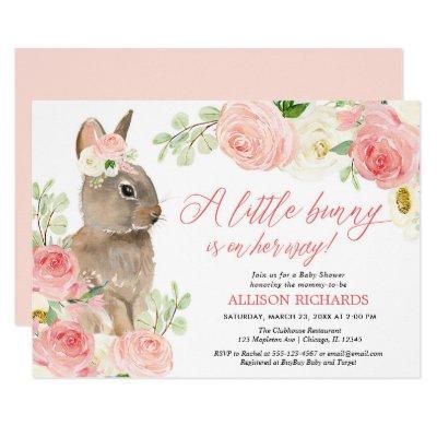 Blush pink greenery Easter bunny girl baby shower Invitation