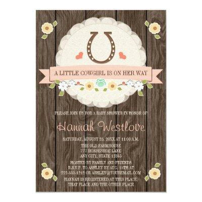 BLUSH PINK HORSESHOE WESTERN COWGIRL BABY SHOWER Invitations