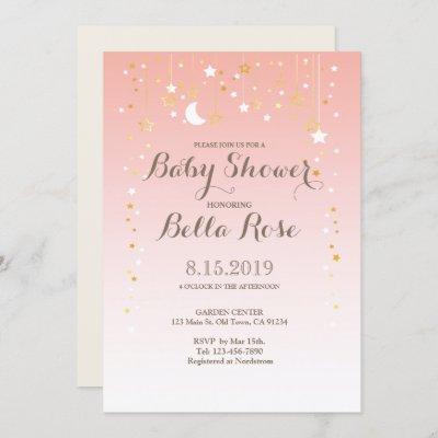Blush Pink Moon Star Girl Baby Shower Invite