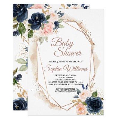 Blush Pink, Navy & Gold Baby Shower Invitation