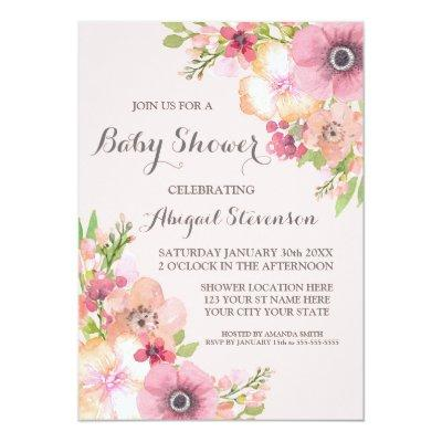 Blush Pink Pastel Watercolor Flowers Baby Shower Invitation